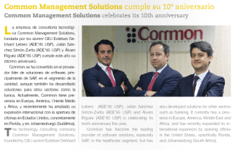El 10º aniversario de Common Management Solutions en la Revista de CEU Alumni, CEU Views (pag.30)